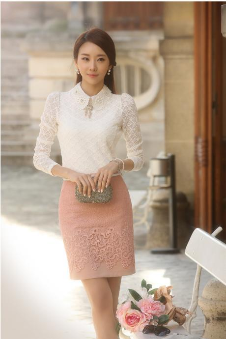Classy Long Sleeve White Lace Blouse
