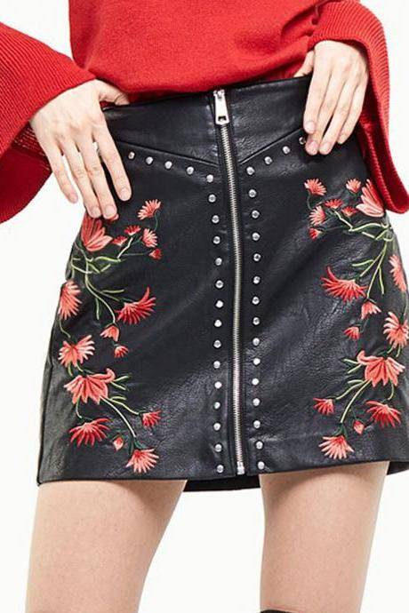 Sexy Black Floral Embroidery PU Leather Skirt