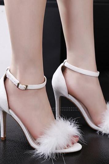 Ankle Strap Peep Toe Faux Fur High Heels Fashion Sandals