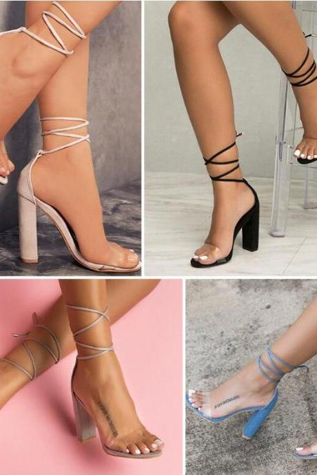 Faux Suede Lace-Up Barely There High Heel Sandals