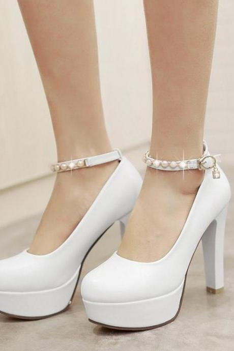 Beautiful pearl Beaded White Ankle Strap Pumps