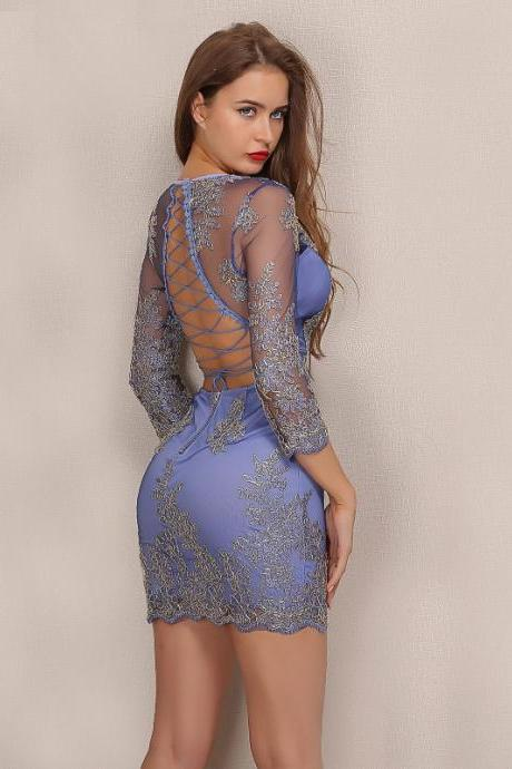 Blue Long Sleeve Backless Lace Dress