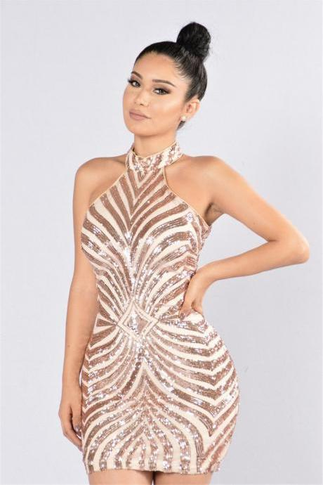 Sexy Gold Sequined Halter Short Party Dress
