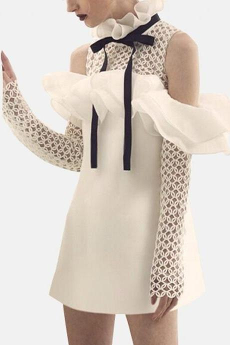 Classy Vintage Style White Long Sleeve Dress