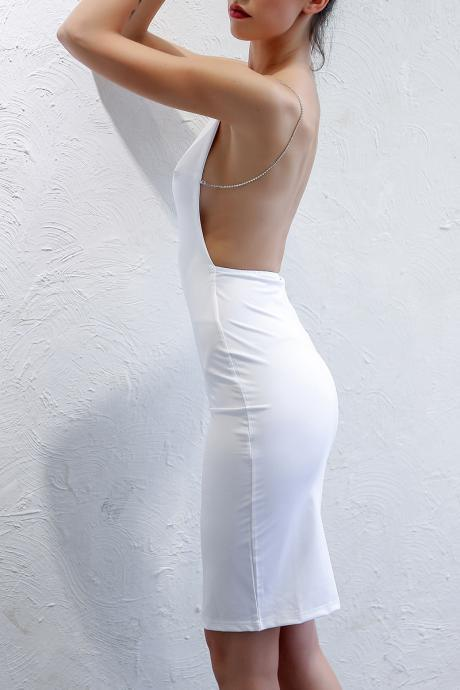 Gorgeous White Backless Bodycon Party Dress