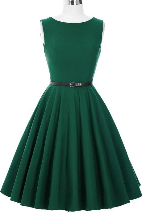 Green Sleeveless Vintage Style Party Dress