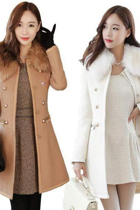 Autumn and Winter Wool Blend Trench Coat with Faux Fur