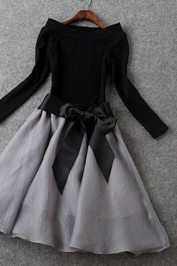 Classy Off Shoulder Black Top and Skirt Dress Set