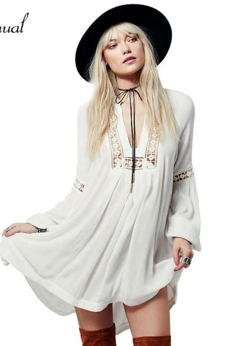 White Summer Chiffon Boho Dress