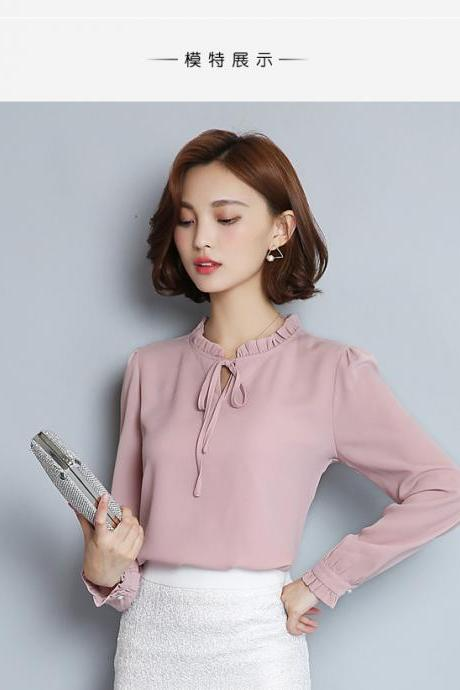 Spring and Autumn Long Sleeve Chiffon Blouse