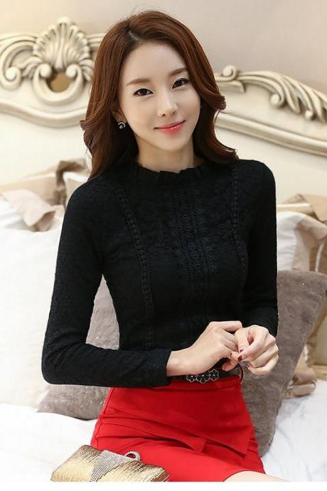Vintage Style Black Lace Long Sleeve Blouse
