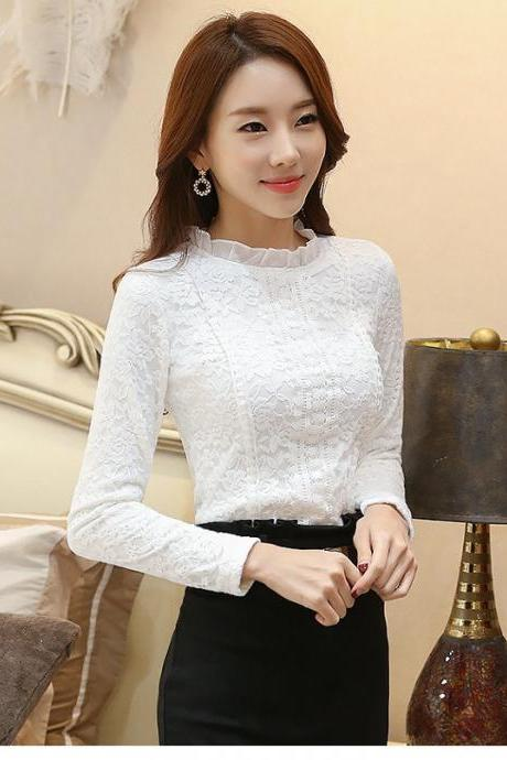 White Vintage Style Long Sleeve Lace Blouse
