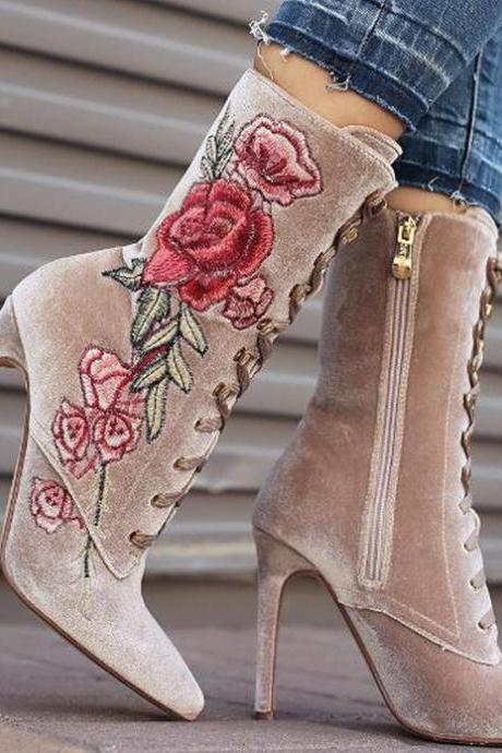 Pointed-Toe Floral Embroidery Lace-Up Stiletto Ankle Boots