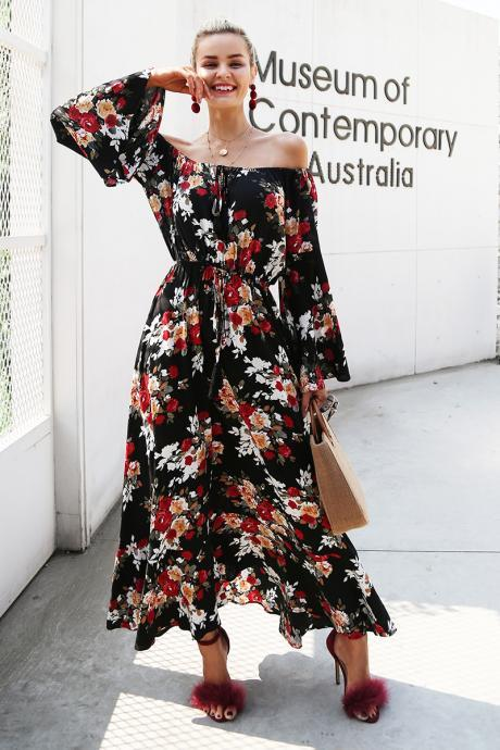 Off Shoulder Flare Sleeve Floral Long Dress