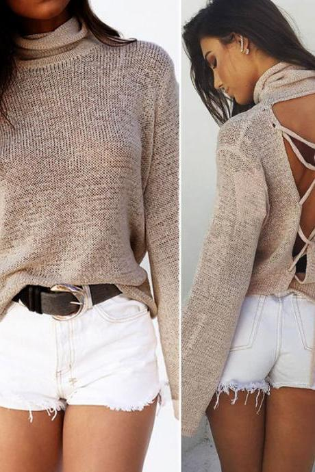 Lace up Back long Sleeve Top