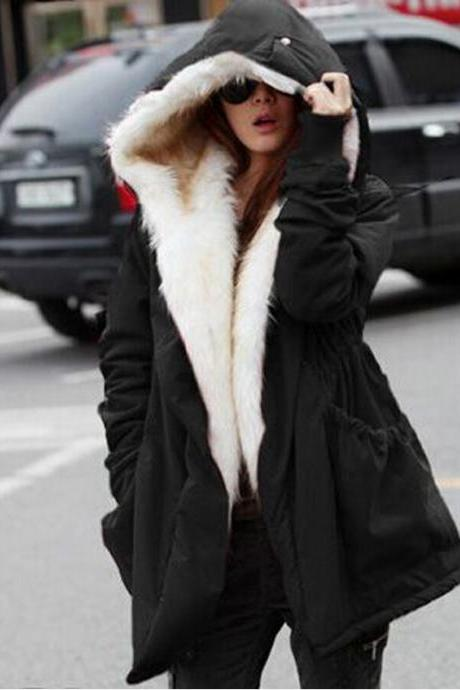Warm Faux Fur Hooded Winter Coat