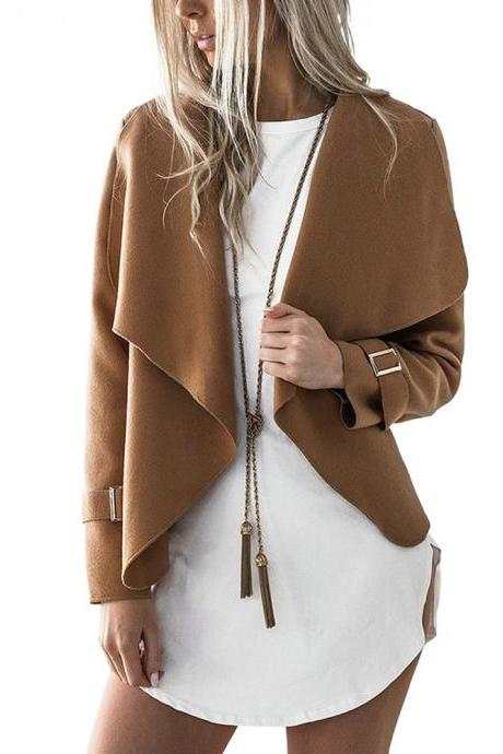 Women Wide Lapel Waterfall Open Front Jacket Coat