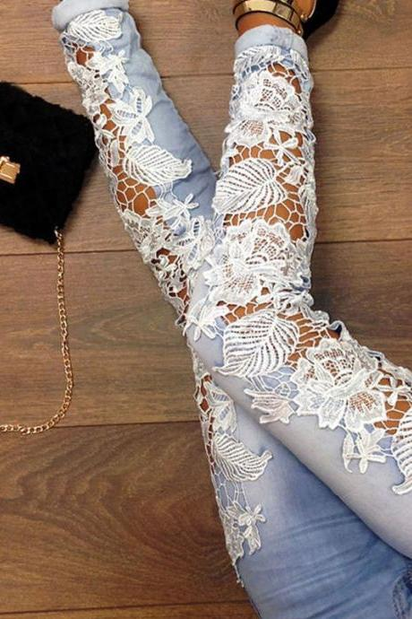 Sexy Denim pants With Lace Detail