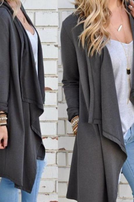 Loose Grey Cotton Cardigan Coat
