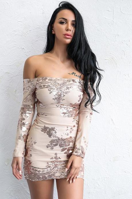 Sequined Off Shoulder Long Sleeve Sexy Lace Dress