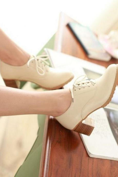 Chic Beige High heels Fashion Oxford Shoes
