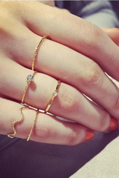 5 Pieces Cute Ring Set