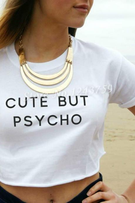 Cute But Psycho Crop Top in Black and White