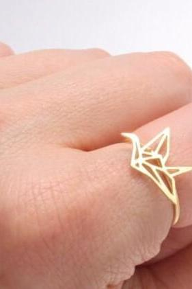 Cute Crane Origami Ring in Silver and Gold
