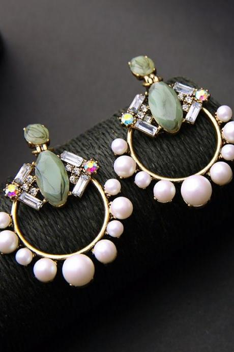 Beautiful Crystal and Pearl Statement Earrings