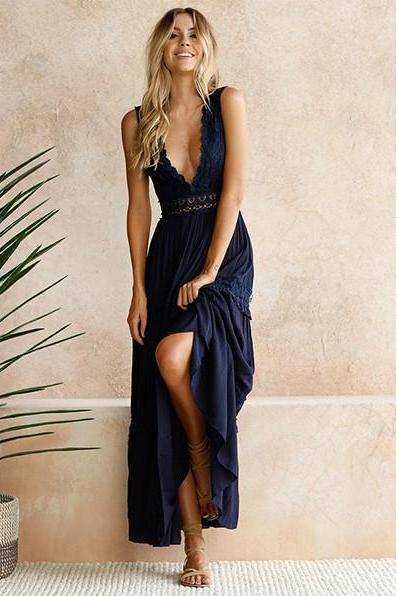 Sexy Deep V Neck Howllow Out Elegant Lace Dress