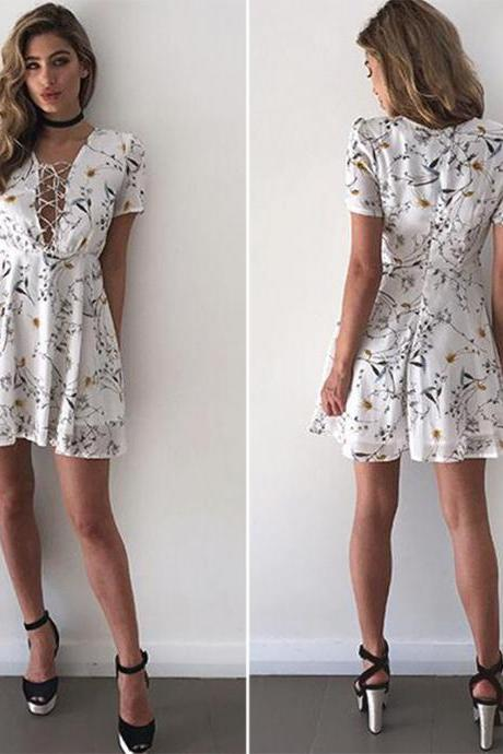 White Sexy Deep V-neck Floral Summer Mini Dress