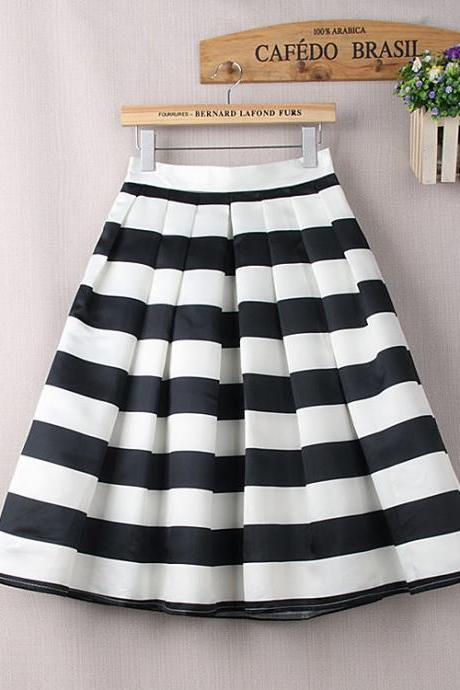 Chic Empire Waist Striped Midi Skirt