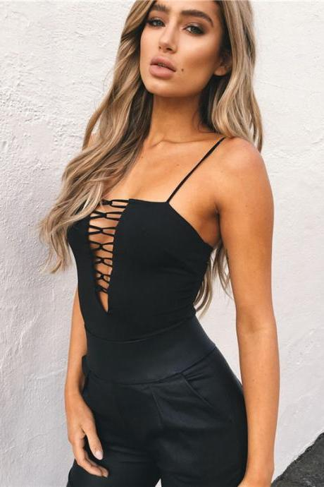 Black Sexy Cut out Bodysuit