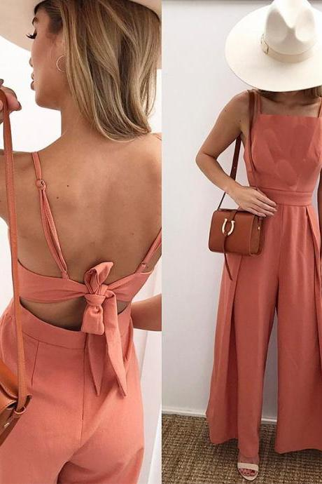 Stylish Flare Wide Leg Spaghetti Strap Bow Back Jumpsuit