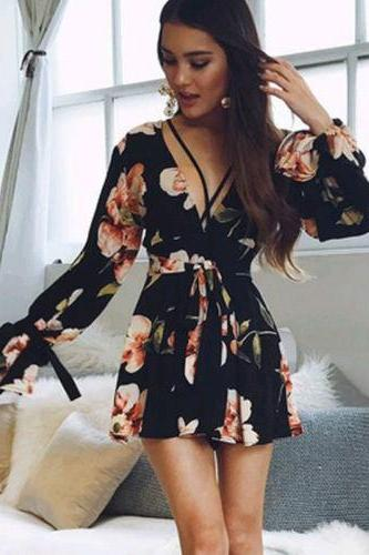 Fashion Women Ladies Summer Long Sleeve V-Neck Floral Jumpsuit