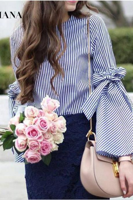 Beautiful Striped Fashion Bow Long Sleeve Blouse Summer Top