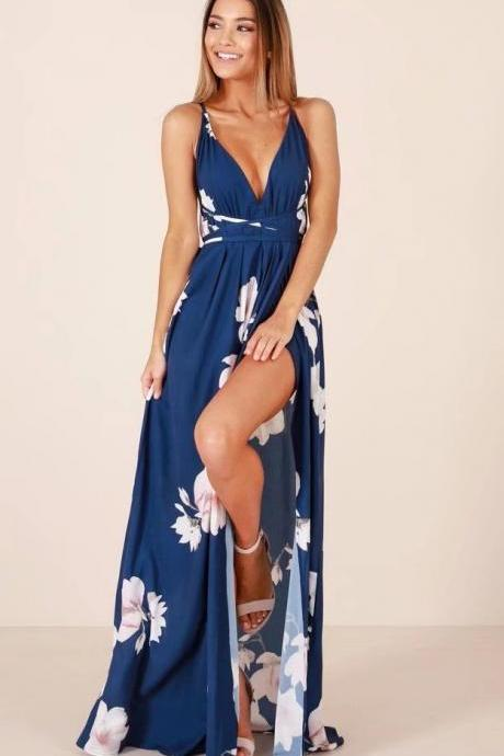 Blue V Neckline Floral Printed Long Dress, Summer Maxi Dress