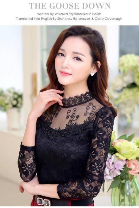 Gorgeous Lace chiffon Long Sleeve Blouse