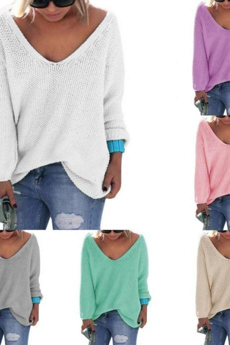V-Neck Women Casual Long Sleeve Knitwear Jumper Sweater