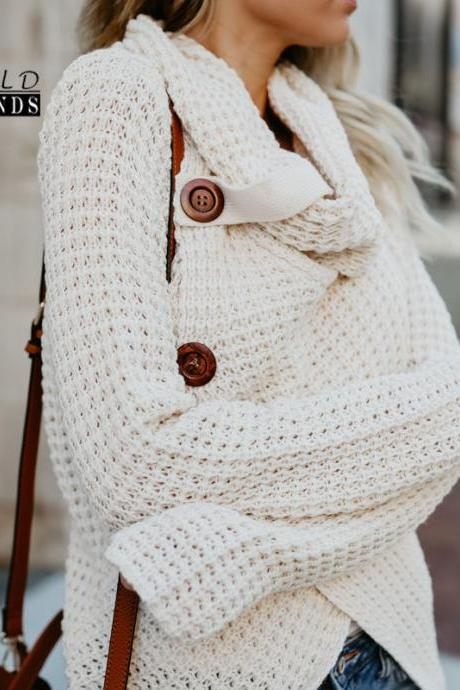 Classy Irregular Hem Spliced Knit Sweater