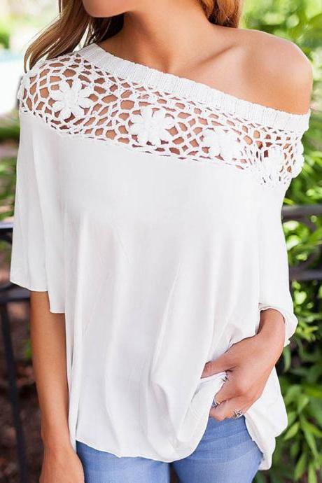 Elegant Off the Shoulder Top with Beautiful Lace Detail
