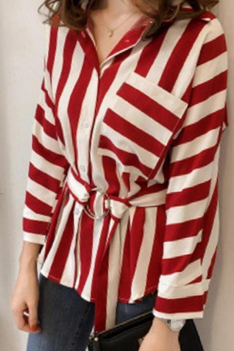 Classy long Sleeve Stripe Blouse with Belt