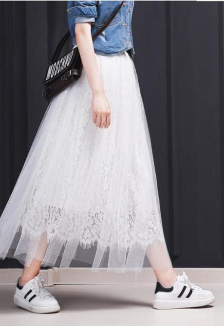 Vintage Style Lace and Mesh Long Skirts in Black and White