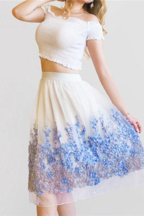 Elegant Organza Lace and Chiffon Midi Skirt