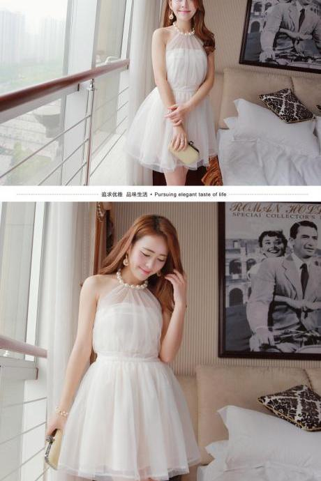 Halter Sweet Style Pearl and Lace Dress