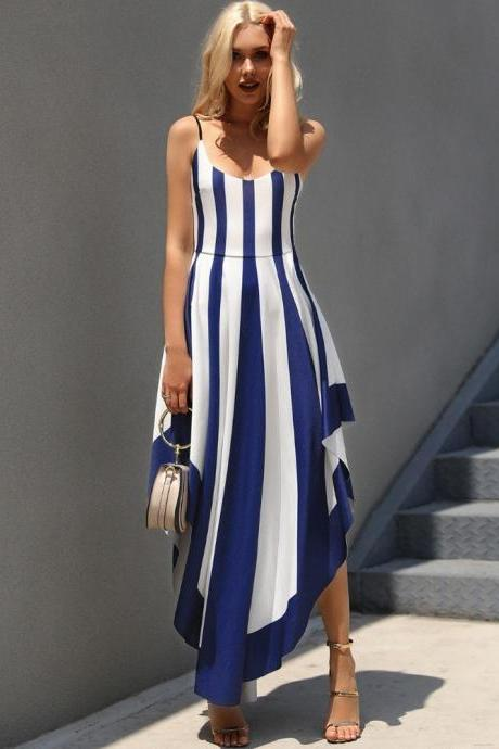 Elegant Blue and White Striped Asymmetrical Hem Party Dress