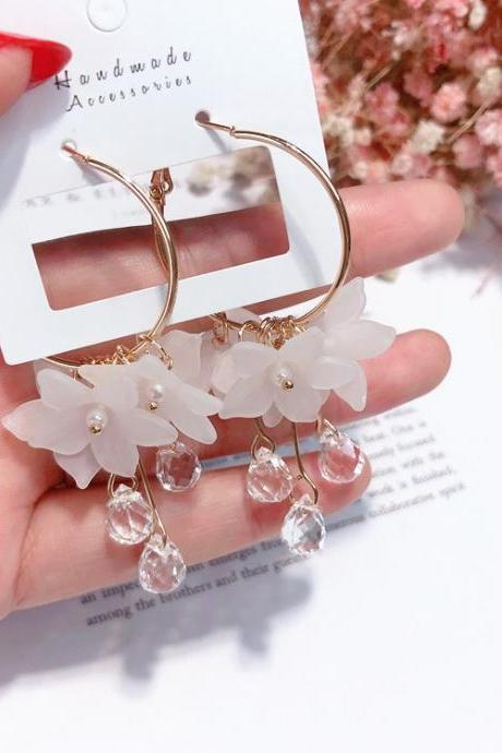 White Crystal Statement Earrings