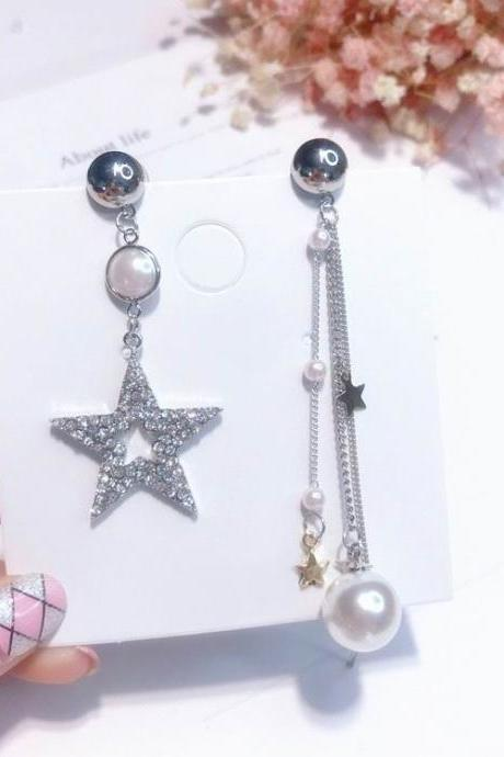 Beautiful Simulated Pearl and Rhinestone Tassel Earrings