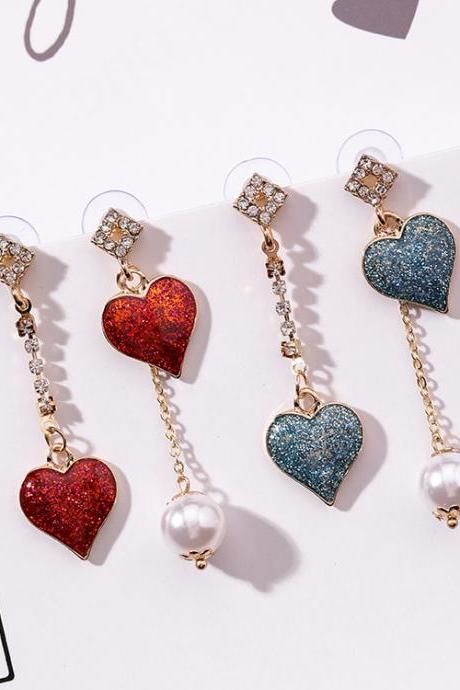 Beautiful Hearts and Pearls Drop Earrings