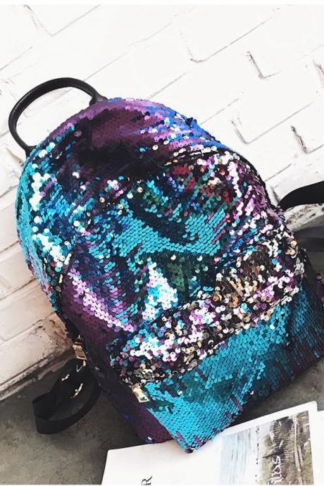 Preppy Style Sequin Backpack School Bag